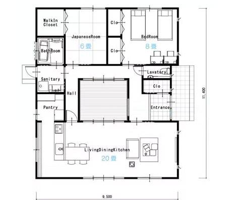 平屋30坪の2LDKの間取り図[東玄関]