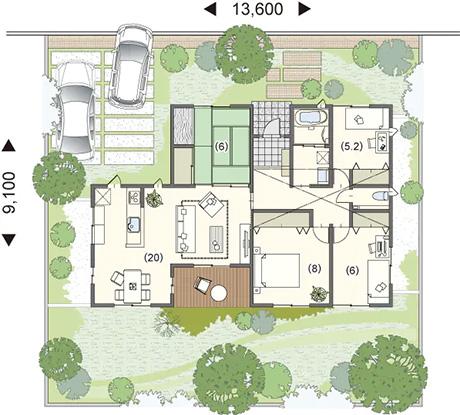 平屋30坪の4LDKの中庭のある間取り図