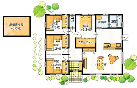 平屋35坪の4LDKの屋根裏部屋のある間取り図[南玄関]