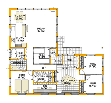 平屋40坪の3LDKの間取り図[北玄関]