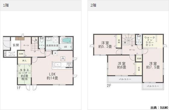 土地込み2000万円の注文住宅の家の間取り実例-間取り