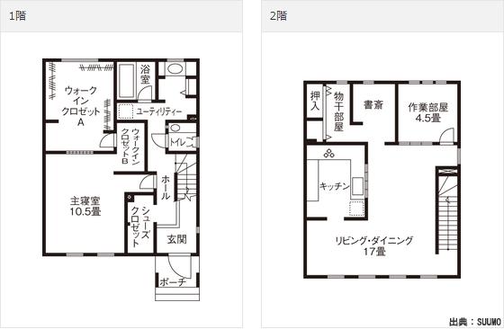 2000万円以下の注文住宅(土地別・建物のみ)の家の間取り図