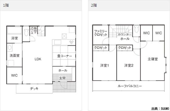 1000万円台(1000~2000万円)の注文住宅の家の間取り実例
