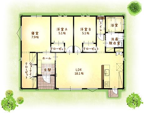 1,290万円のローコスト住宅×平屋( 間取り3LDK-27坪)間取り図