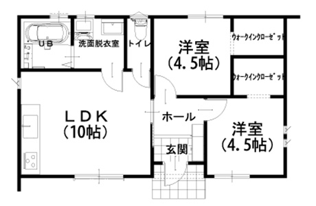 798万円のローコスト住宅×平屋( 間取り2LDK-15坪)間取り図