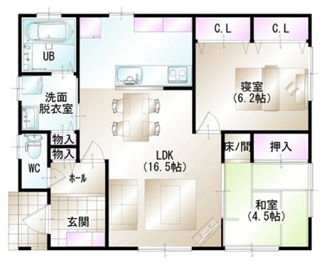 811万円のローコスト住宅×平屋( 間取り2LDK-20坪)間取り図