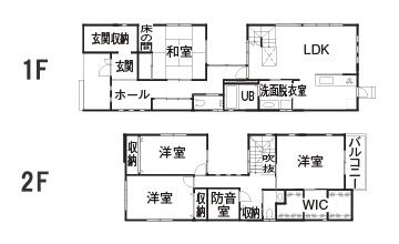 建築費用3,000万円の家の間取り実例3