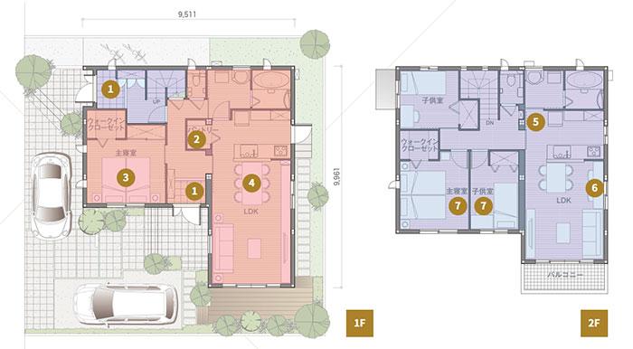 完全分離型の二世帯住宅の間取り40坪・45坪【上下/横割り】