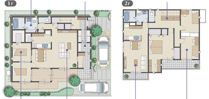 完全分離型の二世帯住宅の間取り50坪・55坪【上下/横割り】