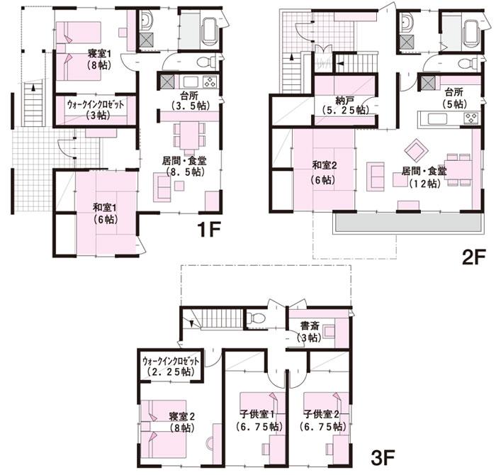完全分離型の二世帯住宅の間取り60坪・70坪【上下/横割り】