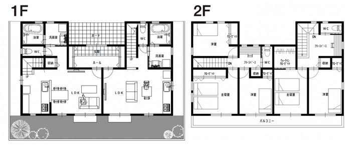 完全分離型の二世帯住宅の間取り45坪・50坪【左右/縦割り】