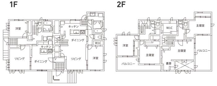 完全分離型の二世帯住宅の間取り70坪・80坪【左右/縦割り】