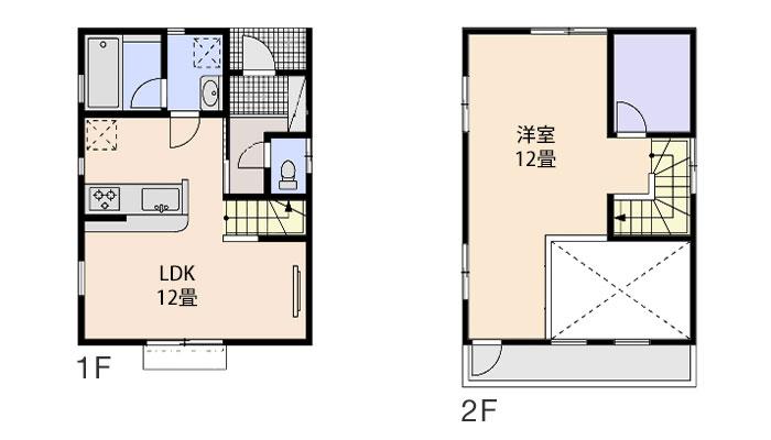 500万円台で建てる1LDK・17坪の注文住宅の間取り設計図