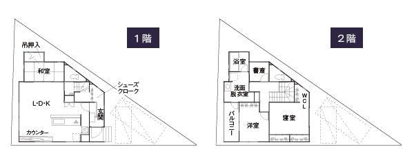 変形地-三角地に建てる2階建て住宅の間取り設計図(敷地30坪)