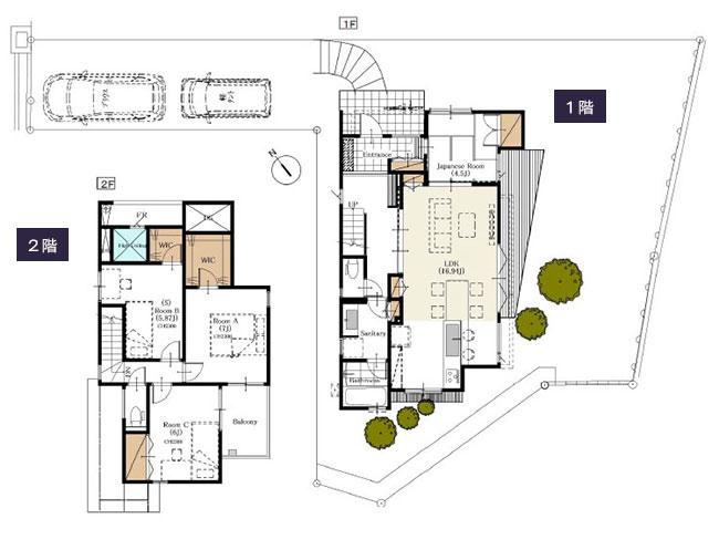 変形地-旗竿地に建てる2階建て住宅の間取り設計図(敷地31坪)