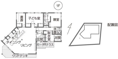 変形地-台形の土地に建てる平屋住宅の間取り設計図(敷地100坪)