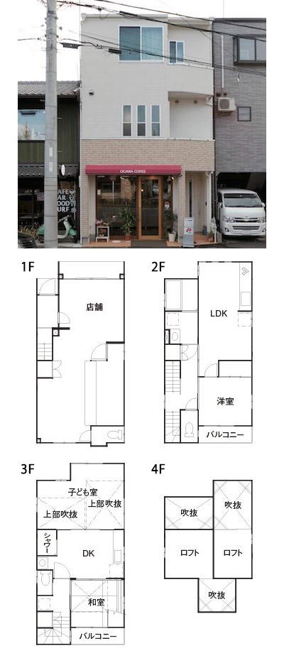 間取り例)2,000万円~2,500万円の店舗併用住宅&二世帯住宅+ロフトがある38.9坪「店舗+1LDK+2DK+2RF」の家