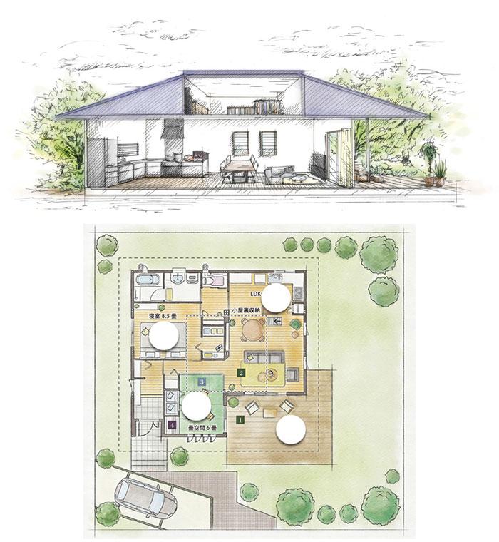 「平屋建て住宅」の小さい家の間取りアイデア-セキスイハイムが建てる小さな平屋の家【楽の家】
