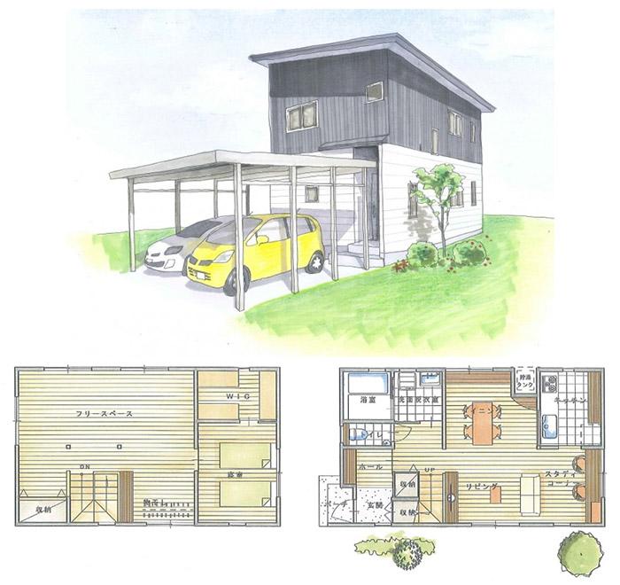 「2階建て住宅」の小さい家の間取りアイデア-フラワーホームが建てる小さな2階建ての家【小さな木の家】