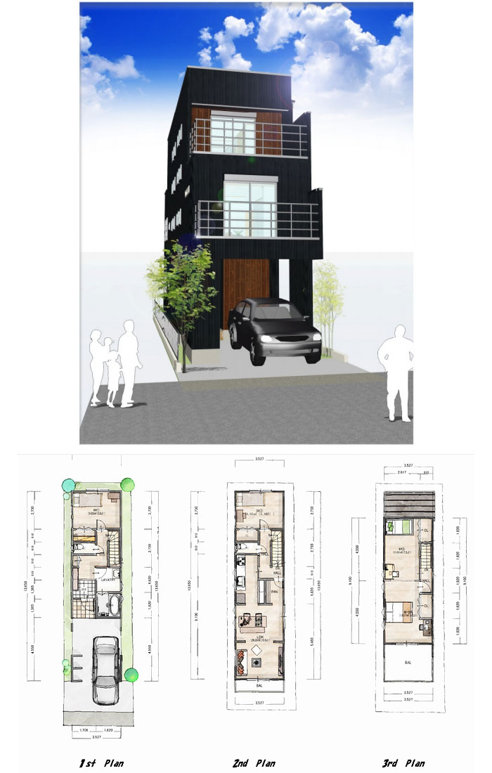 「3階建て住宅」の小さい家の間取りアイデア-スルガ建設が建てる小さな3階建ての家